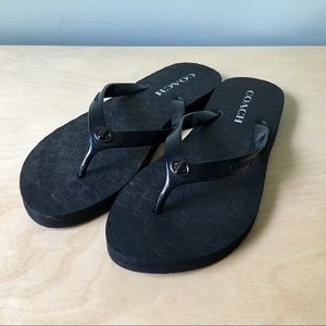 Coach flip flops Abbigail black 7/8 new